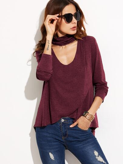 Cutout Choker Overlap High Low T-shirt
