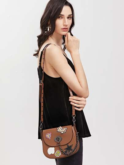 Brown Studded Cartoon Patch Twistlock Saddle Bag