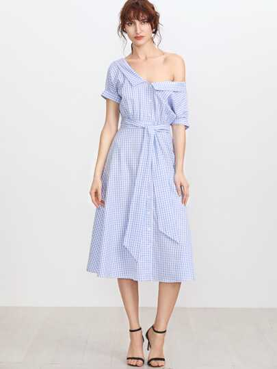 Blue Gingham Collared Double V Neck Belted Shirt Dress