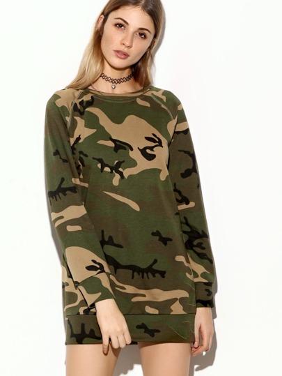 Olive Green Camo Print Raglan Sleeve Sweatshirt