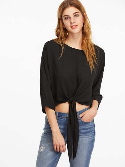 Black Drop Shoulder 3/4 Roll Cuff Sleeve Knot Front Top