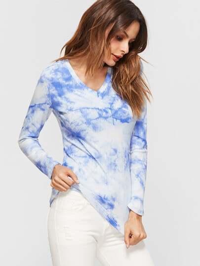 Синий ребристый джемпер с принтом краски