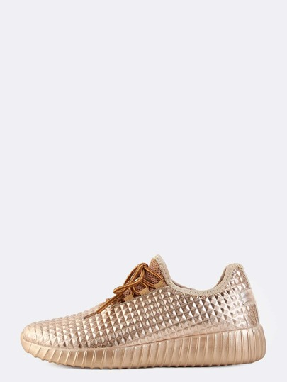Almond Toe Metallic Sneakers ROSE GOLD