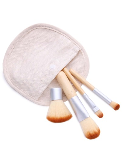 4PCS Bamboo Handle Makeup Brush Set With Canvas Bag