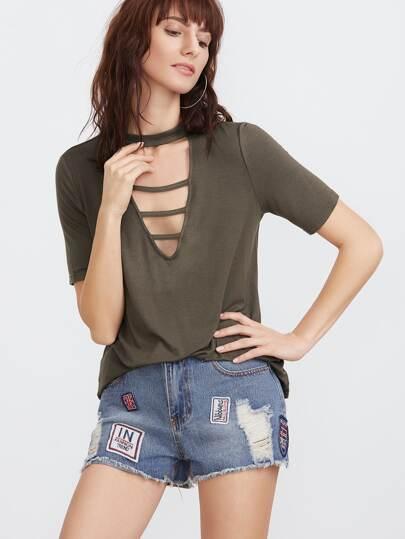 Olive Green Cutout Strappy V Neck T-shirt