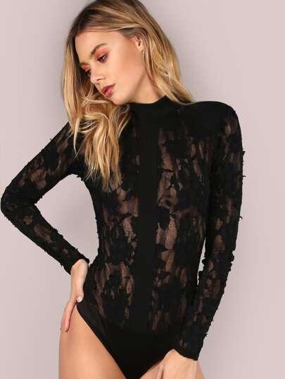 Textured Structure Mesh Bodysuit BLACK