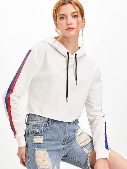 White Striped Sleeve Crop Hoodie