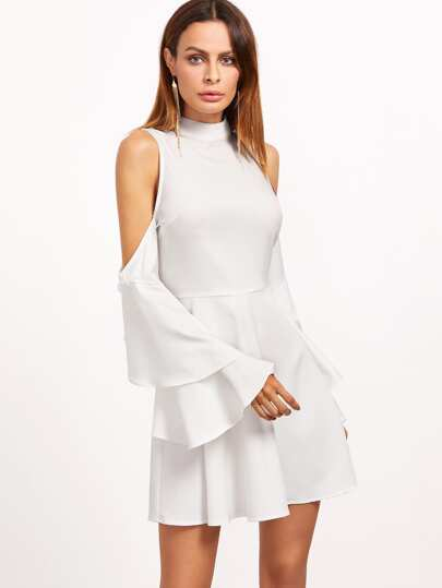 White Cold Shoulder Layered Ruffle Sleeve Dress