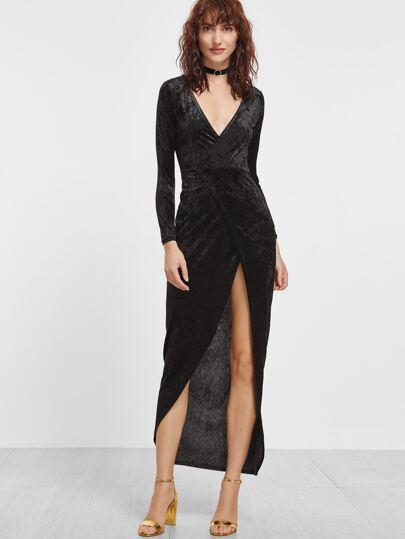 Black Deep V Neck Split Front Velvet Wrap Dress