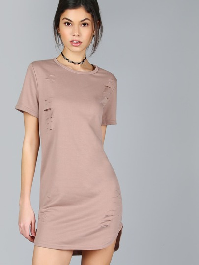 Coffee Curved Hem Distressed Tee Dress