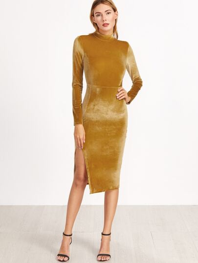 Mustard Mock Neck Split Side Velvet Sheath Dress