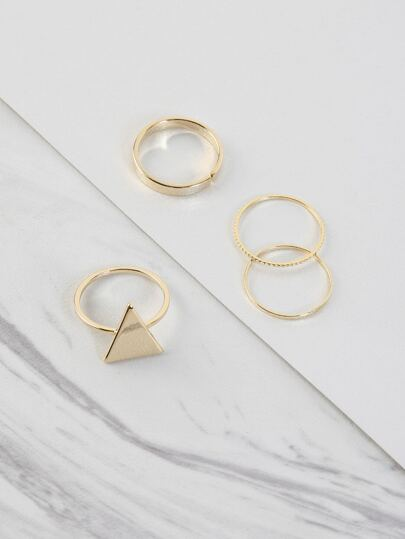 Metallic Triangle Textured Ring Set GOLD