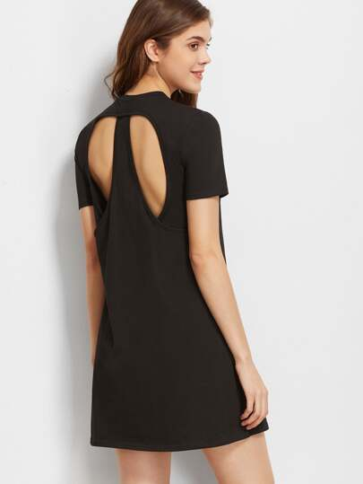 Black Cutout Back Short Sleeve Tee Dress