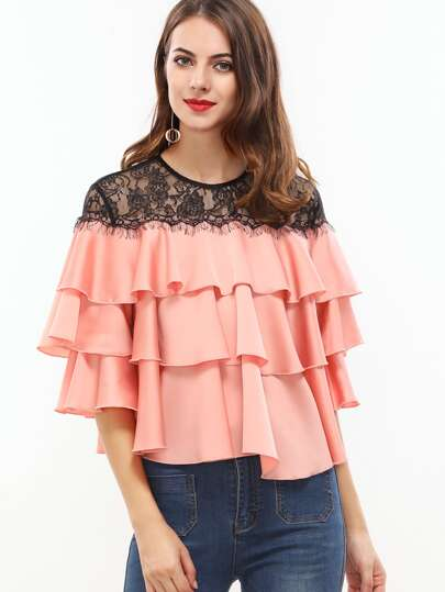 Contrast Lace Shoulder Layered Ruffle Top