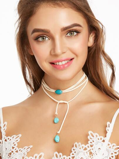 White Layered Turquoise Stone String Choker