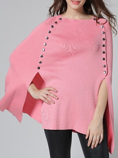 Pink Crew Neck Knit Cape Blouse