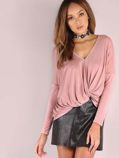 Twist Front Dolman Sleeve T-shirt