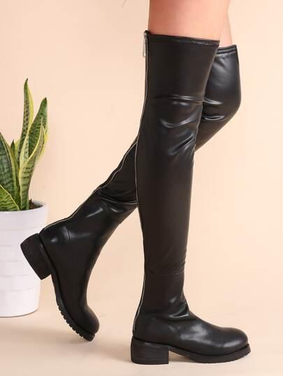 Bottes longues en similicuir avec zip - noir