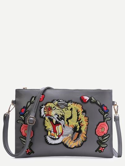 Grey Tiger Embroidered Patch Faux Leather Shoulder Bag