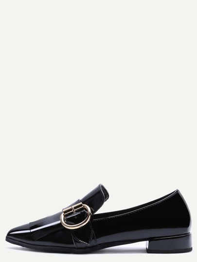 Black Patent Leather Point Toe Buckled Flats
