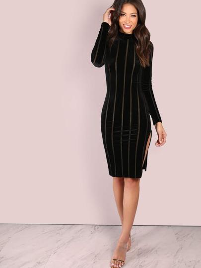 Long Sleeve Velvet Striped Slit Mini Dress BLACK