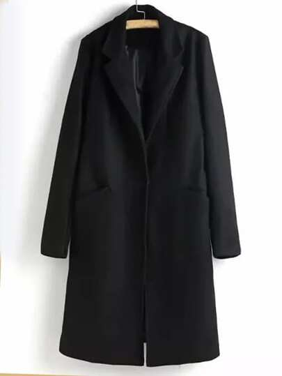 Black Slit Back Lapel Coat