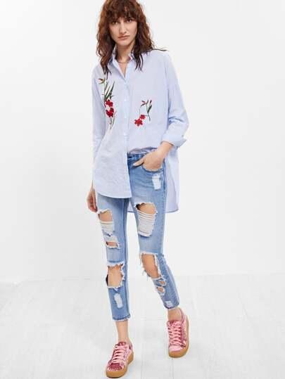 Jeans Ritagliati Strappati - Blu
