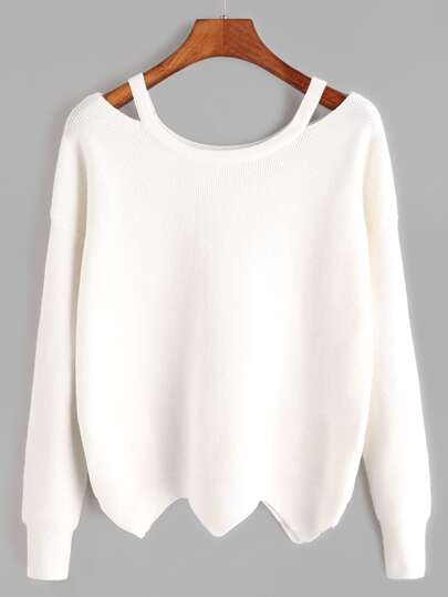 White Cut Out Neck Wave Hem Sweater