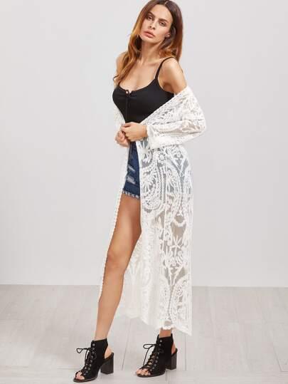 Kimono brodé de maille longue -blanc