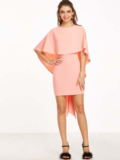 Pink Zipper Back Cape Ruffle Dress