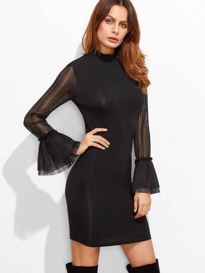 Black Mock Neck Sheer Bell Sleeve Bodycon Dress