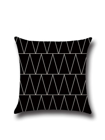 Black Contrast Geo Pattern Square Pillowcase Cover