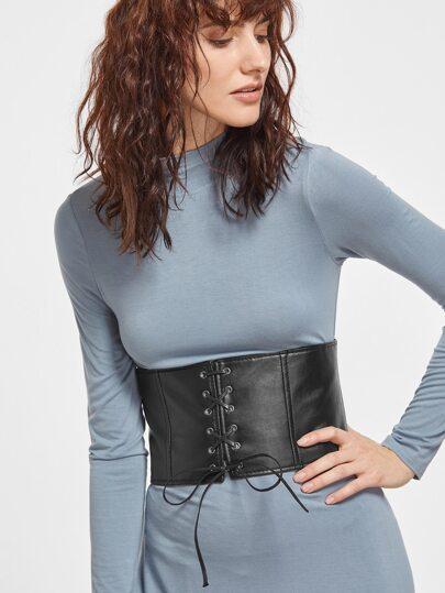 Black Faux Leather Lace Up Wide Waist Belt