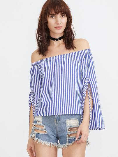 Blue And White Striped Tied Split Sleeve Off The Shoulder Top