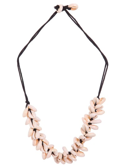 Collier avec petits coquillages en perles -rose