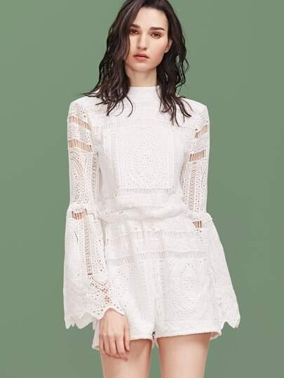 White Mock Neck Bell Sleeve Embroidered Crochet Overlay Romper