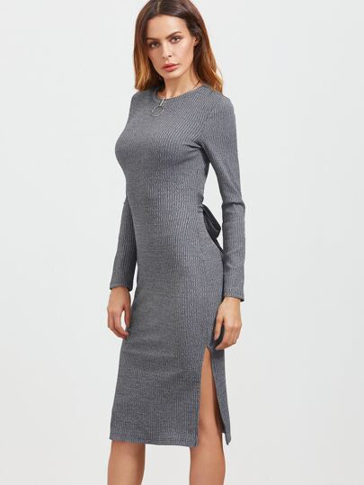 Heather Grey Bow Tie Back Slit Pencil Dress