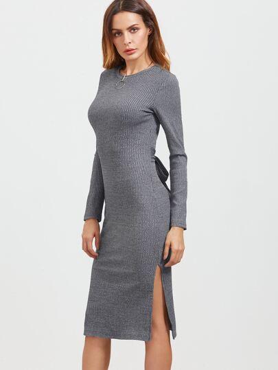 Серое платье-футляр с бантом