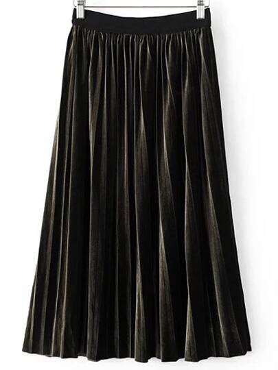 Dark Green Pleated Midi Velvet Skirt