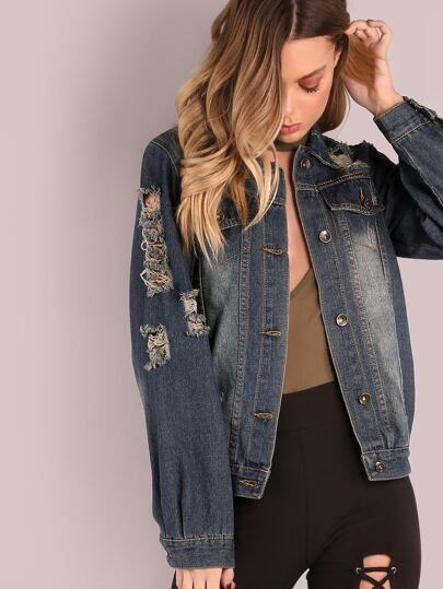 Distressed Dark Washed Denim Jacket DARK BLUE