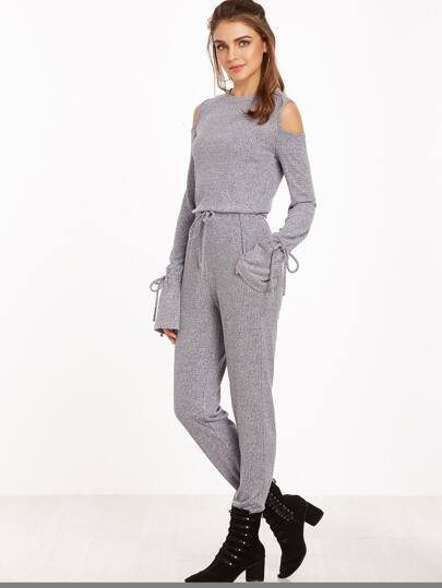 Heather Grey Open Shoulder Drawstring Cuff And Waist Ribbed Jumpsuit