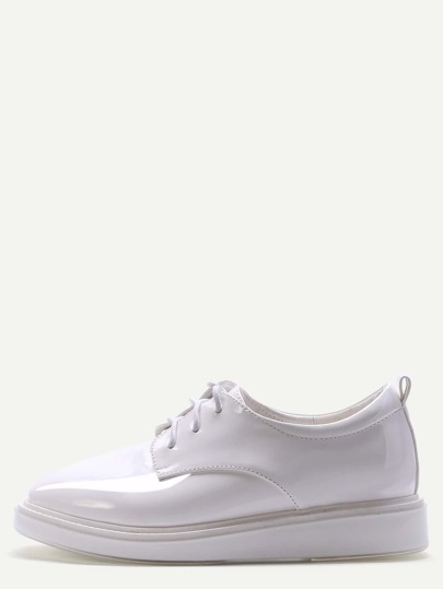 White Patent Leather Lace Up Wedges