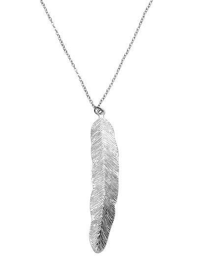 Silber überzogene Feder-hängende Halskette