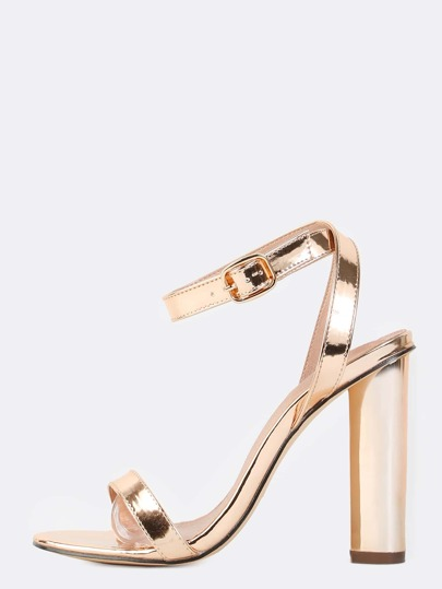 Wrap Around Metallic Chunky Heels ROSE GOLD
