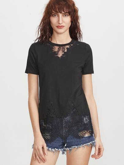 Lace Insert Embroidered Edge Sid Slit T-shirt