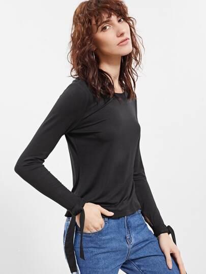 Black Bow Tie Sleeve T-shirt
