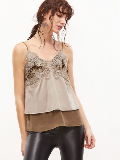 Contrast Lace Trim Mixed Media Cami Top