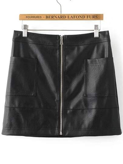 Black Zipper Up PU Mini Skirt