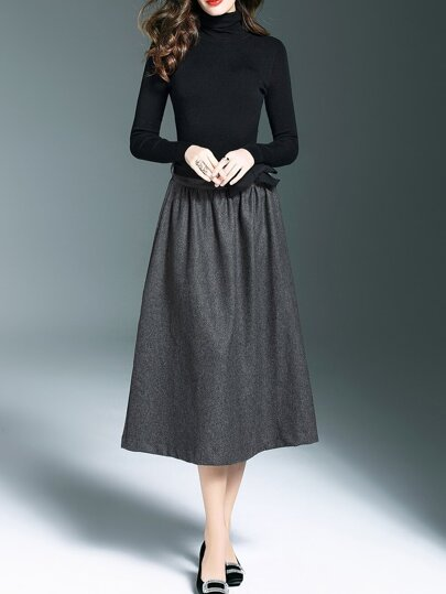 Black Knit Tie-Waist Top With Skirt