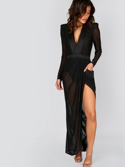 Deep V Neck Shoulder Pads Sheer Wrap Dress BLACK
